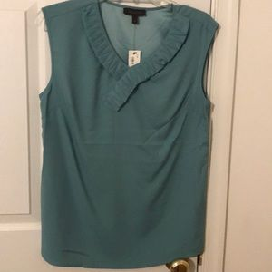 Blue green sleeveless blouse